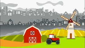 Городская анимация сельского хозяйства с городом в задней части и обрабатываемой землей в фронте бесплатная иллюстрация