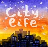 Городская жизнь Помечать буквами на предпосылке восхода солнца и звездном небе в стиле акварели иллюстрация штока