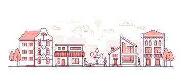 Городская жизнь - современная тонкая линия иллюстрация вектора стиля дизайна Иллюстрация штока