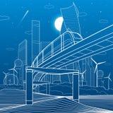 Городская иллюстрация инфраструктуры и перехода Мост монорельса через горы Современный город на предпосылке, промышленном archi Стоковое Фото