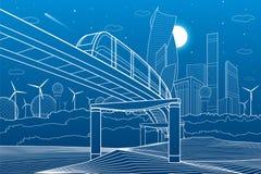 Городская иллюстрация инфраструктуры и перехода Мост монорельса через горы Современный город на предпосылке, промышленном archi Стоковые Фотографии RF
