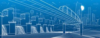 Городская иллюстрация инфраструктуры и перехода Мост монорельса через горы Современный город на предпосылке Гидроэлектрический po Стоковые Изображения RF