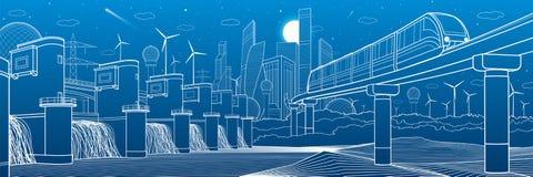 Городская иллюстрация инфраструктуры и перехода Мост монорельса через горы Современный город на предпосылке Гидроэлектрический po Стоковое Фото
