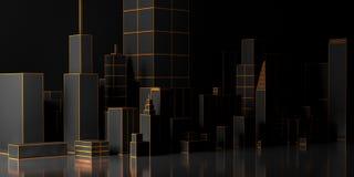 Городская темная абстрактная предпосылка, футуристическая панорама города иллюстрация 3d Стоковые Изображения