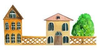 Городские двухэтажные винтажные дома с деревянной загородкой иллюстрация акварели для дизайна бесплатная иллюстрация