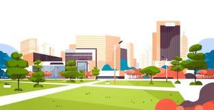 Городские здания небоскреба парка города осматривают современный городской пейзаж к центру города плоско горизонтальный иллюстрация вектора