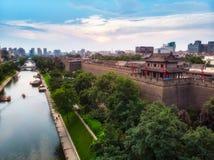 Городские стены Xian сверху стоковые изображения rf