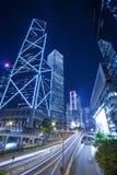 городское движение ночи Hong Kong Стоковое Изображение RF
