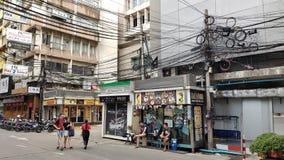 Городское дело площади Бангкока Silom Thaniya и развлекает зону стоковые фото
