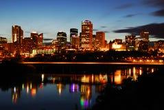 городское место ночи edmonton стоковое изображение rf