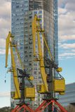 Городское место Constructioon и желтые краны Стоковая Фотография