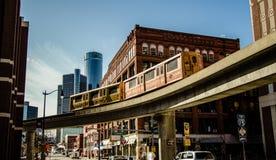 Городской горизонт города Детройта Мичигана панорамный стоковые фотографии rf