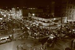 Городской Кливленд во время прославленного рынка ночи Стоковое фото RF