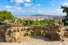 Городской пейзаж Барселоны от парка Guell, Испании стоковое фото