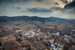 Городской пейзаж болонья увиденный от башни ` s мира самой высокорослой средневековой Стоковое Фото