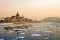 Городской пейзаж Будапешт в зиме Стоковые Изображения RF