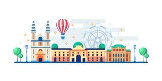 Городской пейзаж Вены с известными touristic ориентирами Иллюстрация вектора плоская Перемещение к дизайну знамени Австрии горизо иллюстрация штока