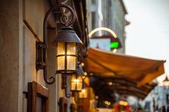 Городской пейзаж вечера Вечер в центре Дрездена стоковые изображения rf