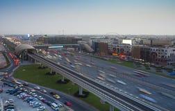 Городской пейзаж Дубай, вид с воздуха стоковые фотографии rf