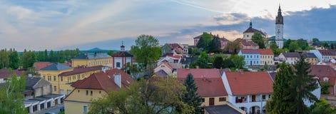 Городской пейзаж захода солнца панорамы городка города Å™ice Litomerice› LitomÄ, стоковое фото rf