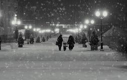 Городской пейзаж зимы ночи в черно-белом 2 женщины при ребенок в снеге идя на улицу, украшенную с рождеством tr Стоковые Изображения