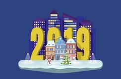 Городской пейзаж зимы со снеговиком и елью рождества Новый Год 2019 Иллюстрация городка вектора Карточка xmas приветствию иллюстрация штока