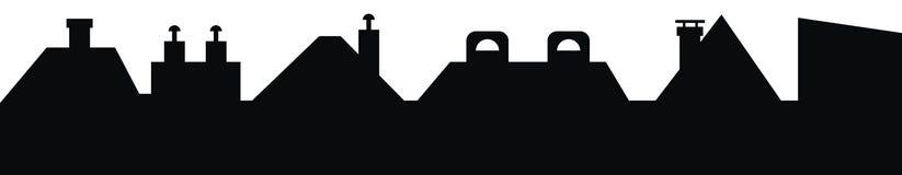 Городской пейзаж и крыши с каминами, eps иллюстрация штока