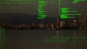 Городской пейзаж и цифровые коды видеоматериал