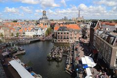 Городской пейзаж Лейдена в Голландии стоковое фото