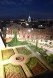 Городской пейзаж Лозанны с церковью на ноче, Лозанной Свят-Francois Стоковая Фотография