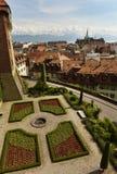 Городской пейзаж Лозанны с церковью Свят-Francois, Лозанной, Switzer Стоковая Фотография