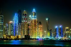 Городской пейзаж Марины Дубая, UAE Стоковая Фотография RF