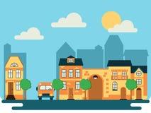 Городской пейзаж на летний день бесплатная иллюстрация