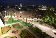 Городской пейзаж на ноче, Лозанна Лозанны, Швейцария Стоковое Изображение