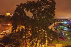 Городской пейзаж ночи Люблина, Польши стоковые фотографии rf