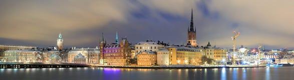 Городской пейзаж панорамы Gamla Stan Стокгольма Швеци стоковое фото rf