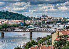 Городской пейзаж Праги красивый снятый в 2017 Стоковое Изображение