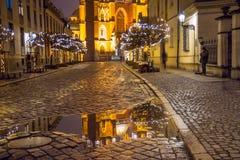 Городской пейзаж рождества - взгляд на отражении в воде собора St. John баптист, расположенного в distr Ostrow Tumski старых Стоковая Фотография RF