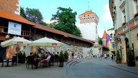 Городской пейзаж старого Кракова, Польша видеоматериал