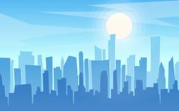 Городской пейзаж стиля шаржа дневного времени плоский, горизонт, panor небоскребов иллюстрация вектора