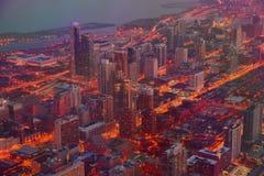 Городской пейзаж сумерек зимы Sears Tower Чикаго стоковое фото rf