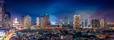 Городской пейзаж сцены ночи Стоковые Фотографии RF