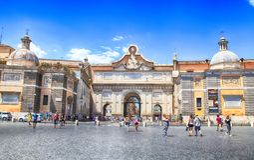 Городской пейзаж с квадратом ` s Аркады del Popolo Людей в Риме, Ital Стоковое фото RF