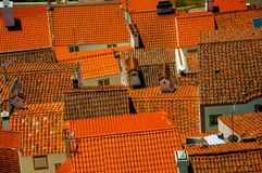 Городской пейзаж с много крыш стоковая фотография rf