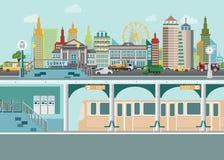 Городской пейзаж с платформой железнодорожной станции метро под улицей города бесплатная иллюстрация