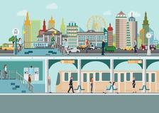 Городской пейзаж с платформой железнодорожной станции метро под улицей города иллюстрация штока