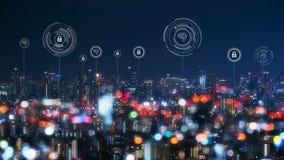 Городской пейзаж с соединяясь технологией точки умного города схематической стоковая фотография