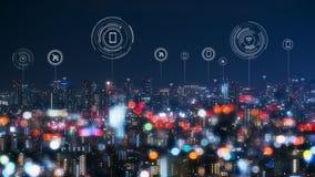Городской пейзаж с соединяясь технологией точки умного города схематической стоковые изображения rf