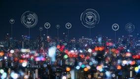 Городской пейзаж с соединяясь технологией точки умного города схематической стоковые фотографии rf