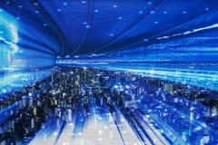 Городской пейзаж с соединяясь технологией точки умного города схематической стоковое фото